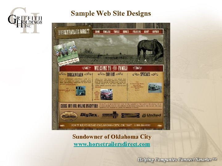 Sample Web Site Designs Sundowner of Oklahoma City www. horsetrailersdirect. com