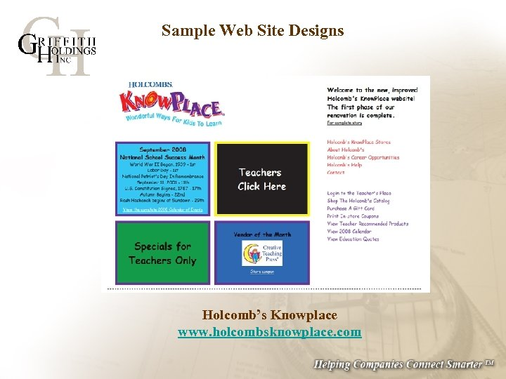 Sample Web Site Designs Holcomb's Knowplace www. holcombsknowplace. com