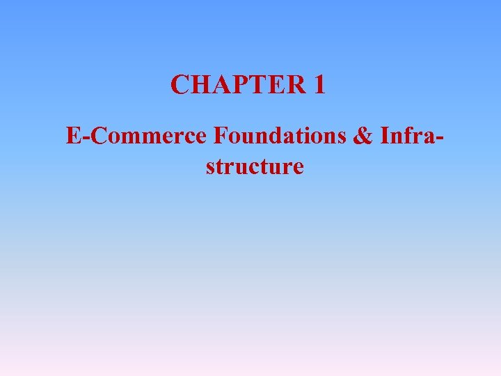 CHAPTER 1 E-Commerce Foundations & Infrastructure
