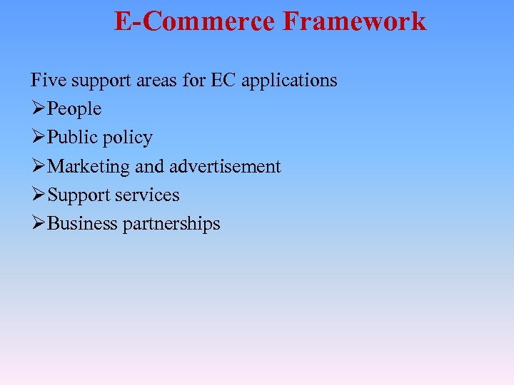 E-Commerce Framework Five support areas for EC applications ØPeople ØPublic policy ØMarketing and advertisement