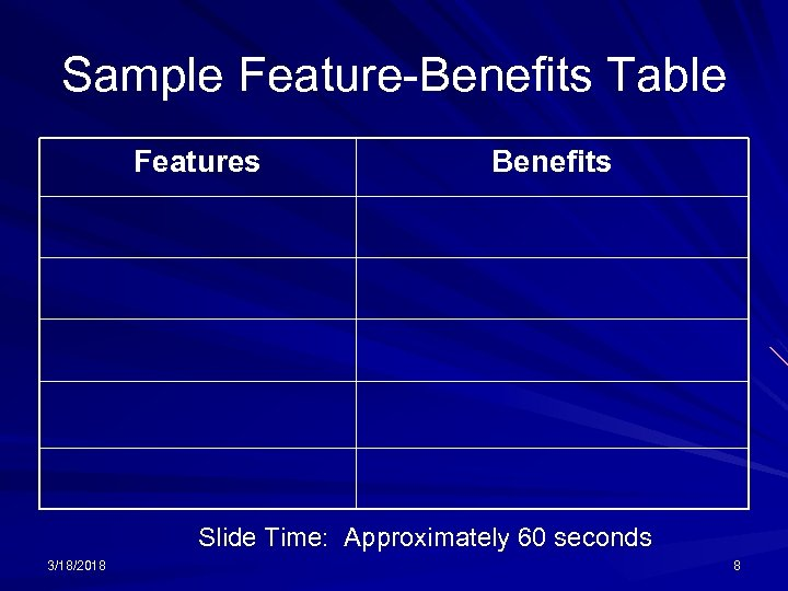 Sample Feature-Benefits Table Features Benefits Slide Time: Approximately 60 seconds 3/18/2018 8