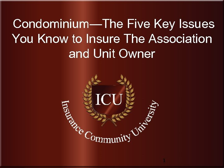 Condominium—The Five Key Issues You Know to Insure The Association and Unit Owner Insurance