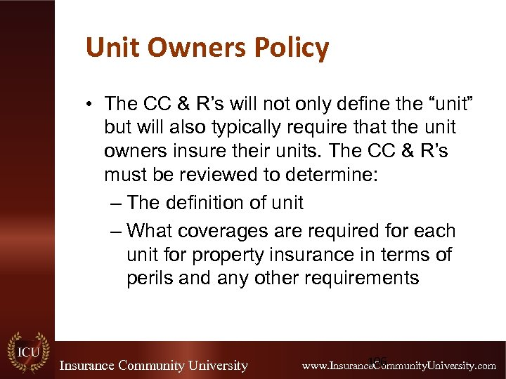 "Unit Owners Policy • The CC & R's will not only define the ""unit"""