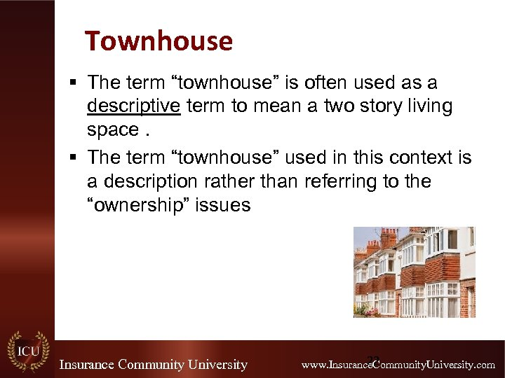 """Townhouse § The term """"townhouse"""" is often used as a descriptive term to mean"""