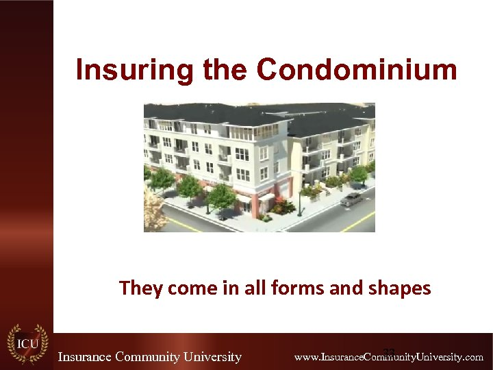Insuring the Condominium They come in all forms and shapes Insurance Community University 33