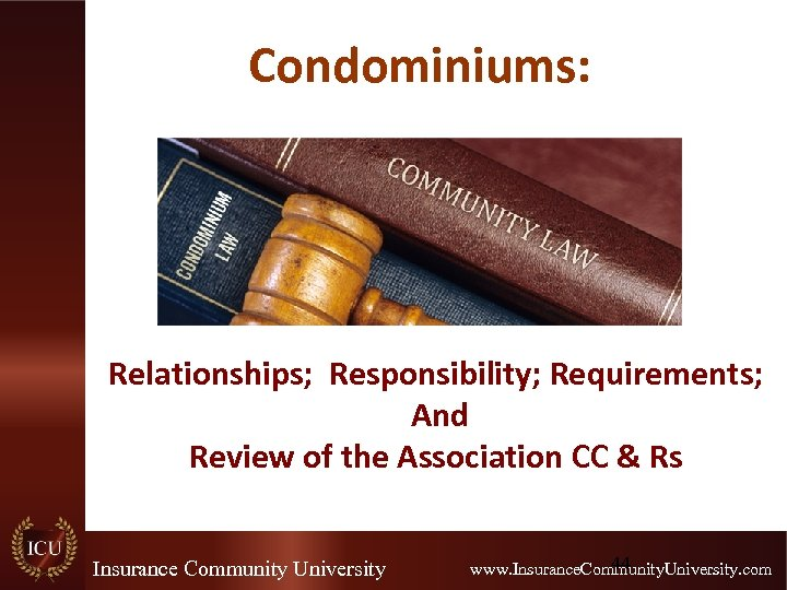 Condominiums: Relationships; Responsibility; Requirements; And Review of the Association CC & Rs Insurance Community