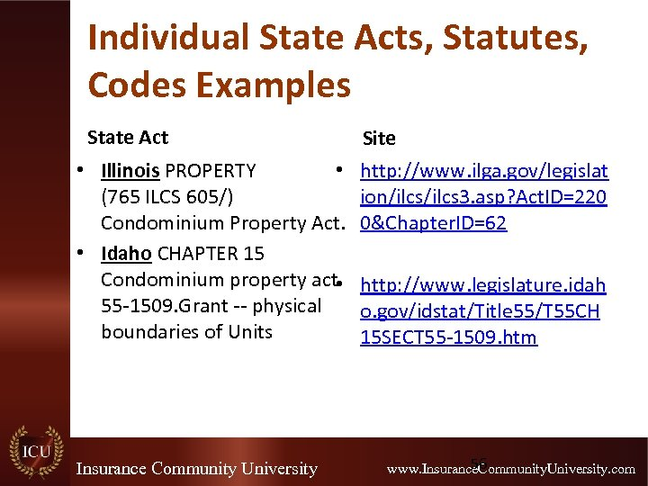Individual State Acts, Statutes, Codes Examples State Act • Illinois PROPERTY • (765 ILCS
