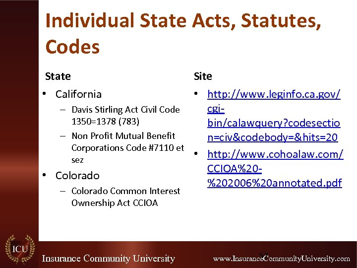 Individual State Acts, Statutes, Codes State Site • California • http: //www. leginfo. ca.
