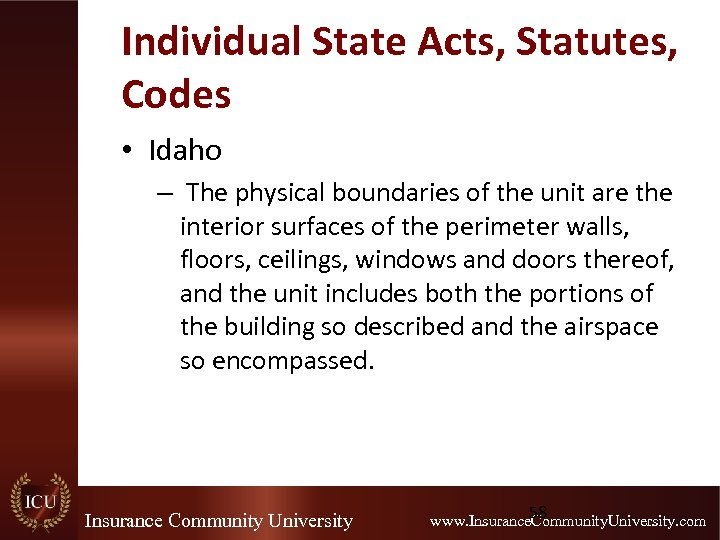 Individual State Acts, Statutes, Codes • Idaho – The physical boundaries of the unit