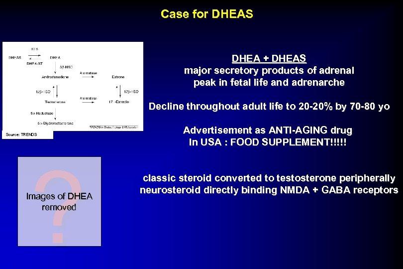 Case for DHEAS DHEA + DHEAS major secretory products of adrenal peak in fetal