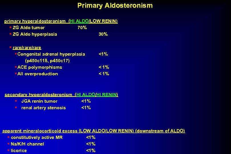 Primary Aldosteronism primary hyperaldosteronism (HI ALDO/LOW RENIN) § ZG Aldo tumor 70% § ZG