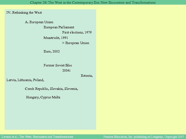 Chapter 28: The West in the Contemporary Era: New Encounters and Transformations IV. Rethinking