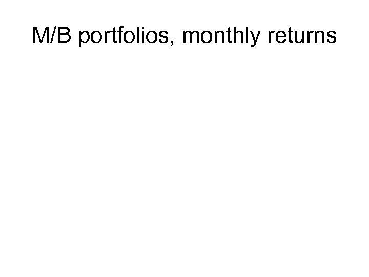 M/B portfolios, monthly returns