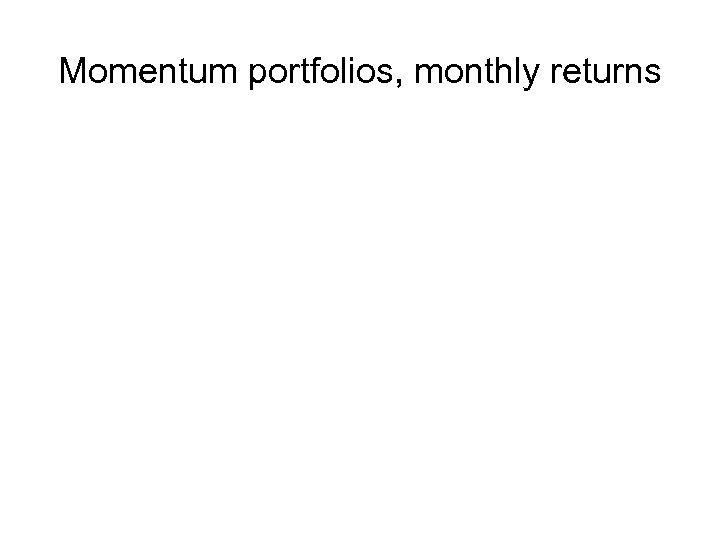 Momentum portfolios, monthly returns