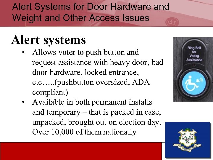 Alert Systems for Door Hardware and Weight and Other Access Issues Alert systems •