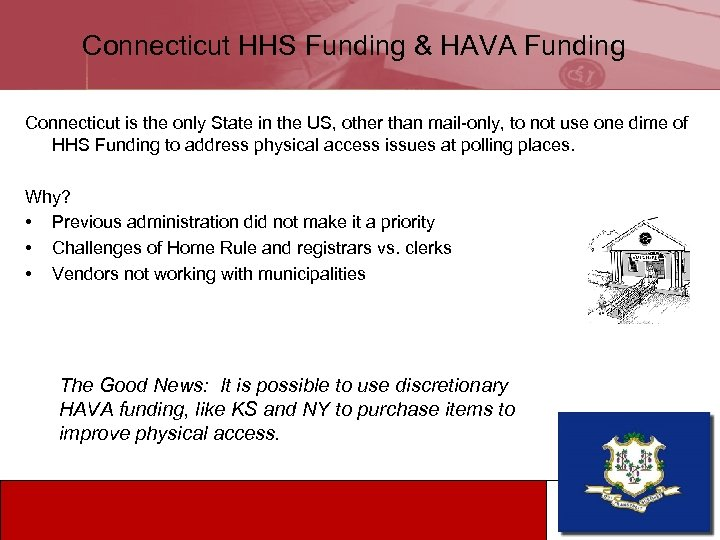 Connecticut HHS Funding & HAVA Funding Connecticut is the only State in the US,