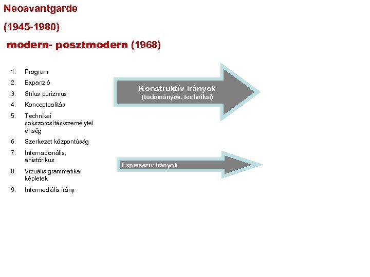Neoavantgarde (1945 -1980) modern- posztmodern (1968) 1. Program 2. Expanzió 3. Stílus purizmus 4.