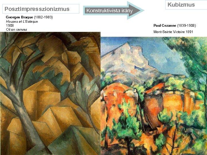 Posztimpresszionizmus Georges Braque (1882 -1963) Houses at L'Estaque 1908 Oil on canvas Konstruktivista irány