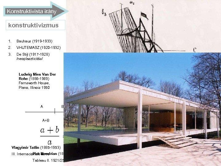 Konstruktivista irány konstruktivizmus 1. Bauhaus (1919 -1933) 2. VHUTEMASZ (1920 -1932) 3. De Stijl