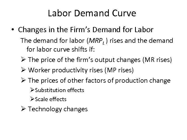Labor Demand Curve • Changes in the Firm's Demand for Labor The demand for