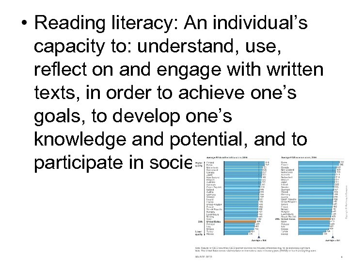 • Reading literacy: An individual's capacity to: understand, use, reflect on and engage