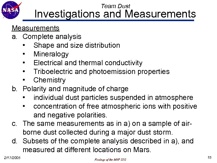 Team Dust Investigations and Measurements a. Complete analysis • Shape and size distribution •