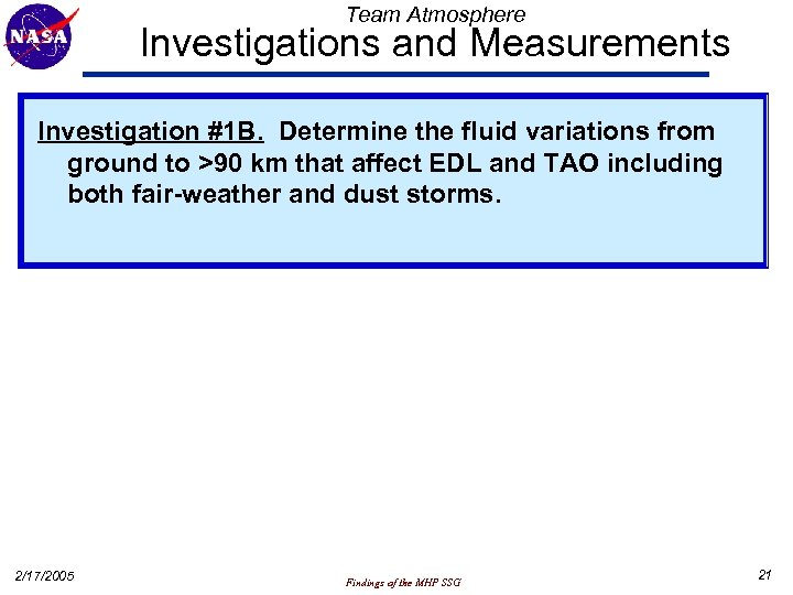Team Atmosphere Investigations and Measurements Investigation #1 B. Determine the fluid variations from ground
