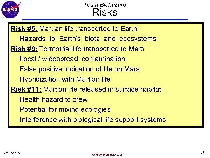 Team Biohazard Risks Risk #5: Martian life transported to Earth Hazards to Earth's biota