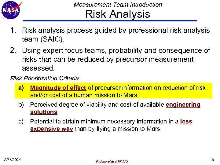 Measurement Team Introduction Risk Analysis 1. Risk analysis process guided by professional risk analysis