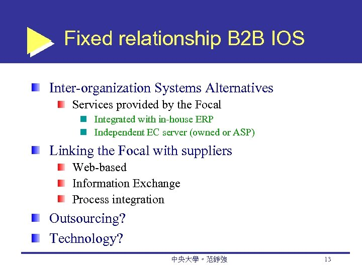 Fixed relationship B 2 B IOS Inter-organization Systems Alternatives Services provided by the Focal