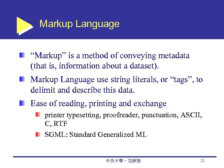 "Markup Language ""Markup"" is a method of conveying metadata (that is, information about a"