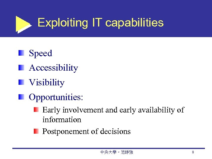 Exploiting IT capabilities Speed Accessibility Visibility Opportunities: Early involvement and early availability of information