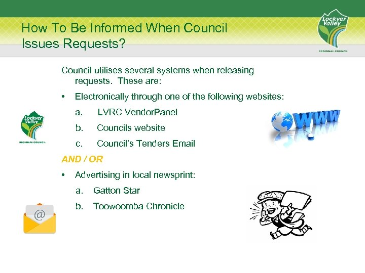 How To Be Informed When Council Issues Requests? Council utilises several systems when releasing