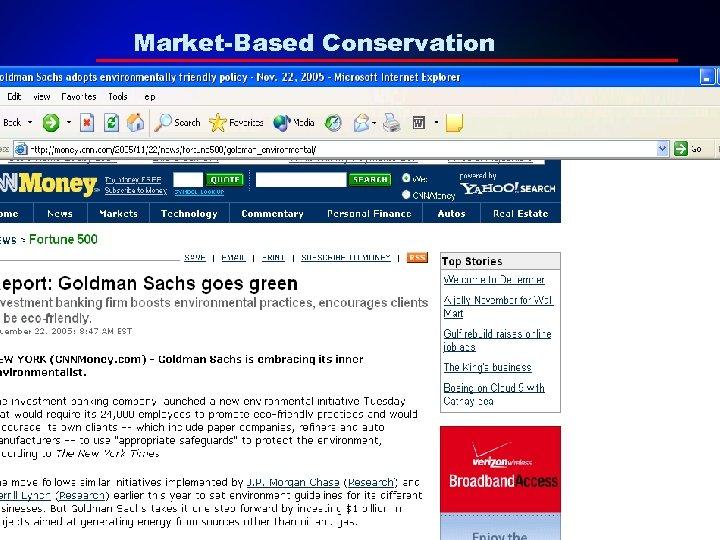 Market-Based Conservation – •