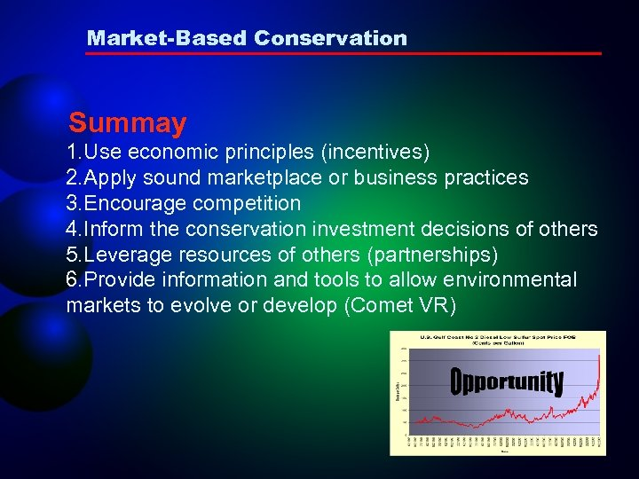 Market-Based Conservation Summay 1. Use economic principles (incentives) 2. Apply sound marketplace or business