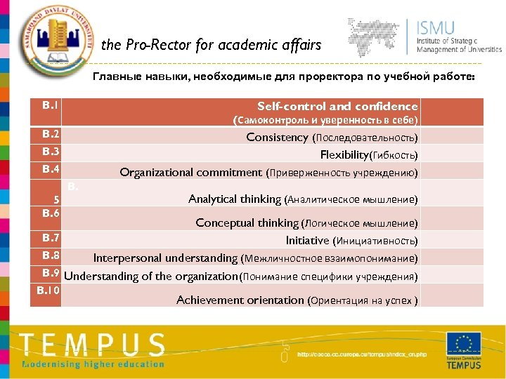 the Pro-Rector for academic affairs Главные навыки, необходимые для проректора по учебной работе: B.