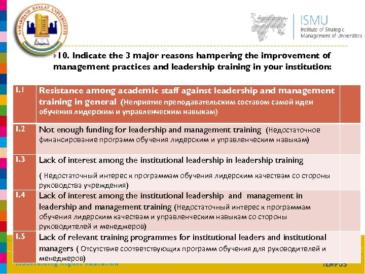 10. Indicate the 3 major reasons hampering the improvement of management practices and