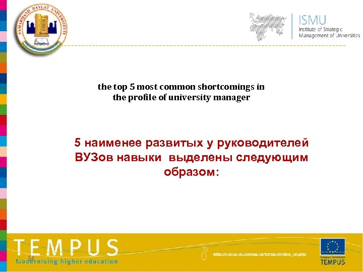 the top 5 most common shortcomings in the profile of university manager 5 наименее