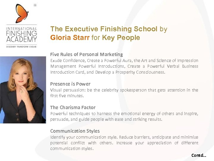 The Executive Finishing School by Gloria Starr for Key People Five Rules of Personal