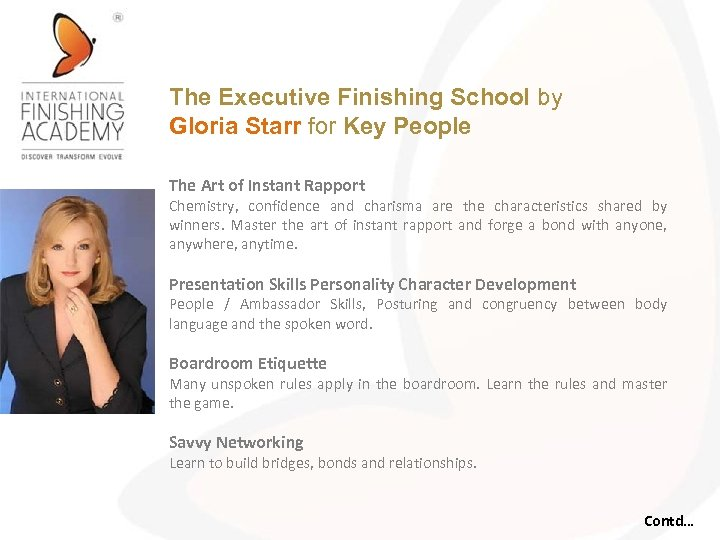 The Executive Finishing School by Gloria Starr for Key People The Art of Instant
