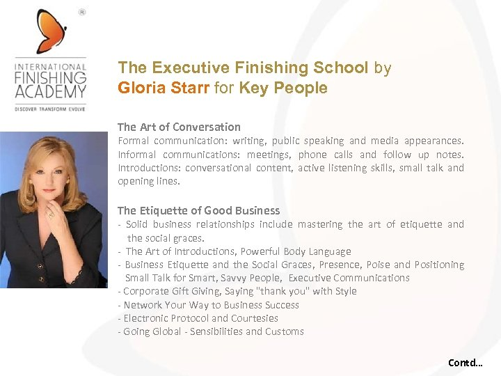 The Executive Finishing School by Gloria Starr for Key People The Art of Conversation