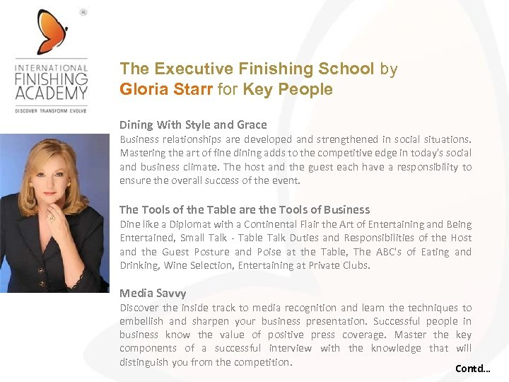 The Executive Finishing School by Gloria Starr for Key People Dining With Style and