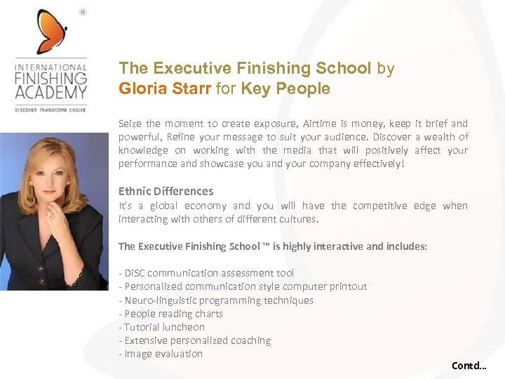 The Executive Finishing School by Gloria Starr for Key People Seize the moment to