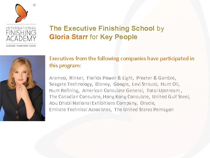 The Executive Finishing School by Gloria Starr for Key People Executives from the following