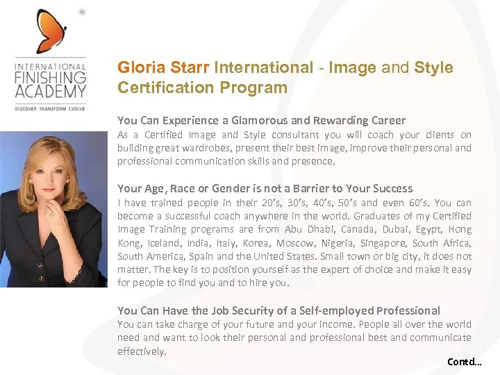 Gloria Starr International - Image and Style Certification Program You Can Experience a Glamorous