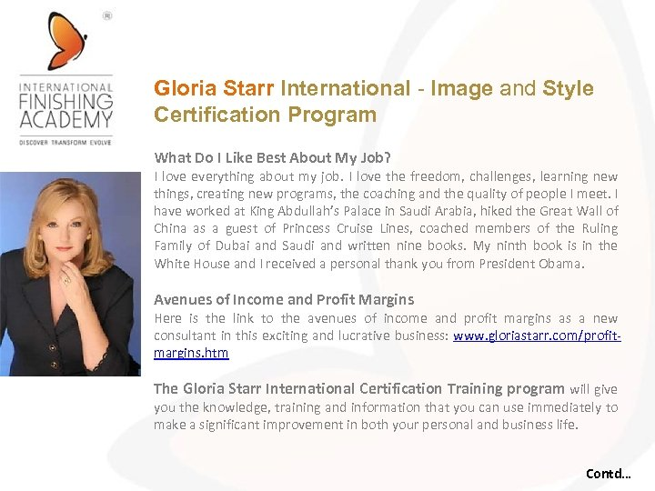 Gloria Starr International - Image and Style Certification Program What Do I Like Best