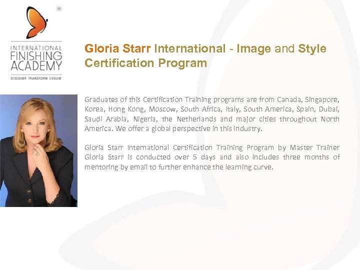 Gloria Starr International - Image and Style Certification Program Graduates of this Certification Training