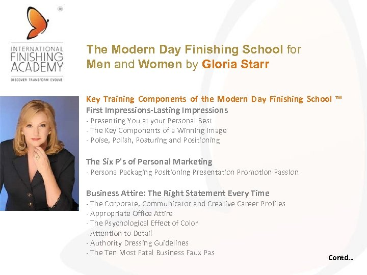The Modern Day Finishing School for Men and Women by Gloria Starr Key Training