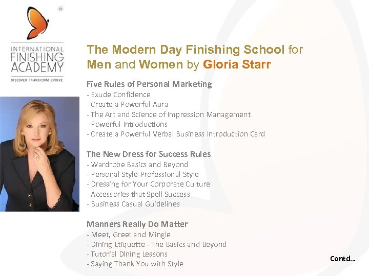 The Modern Day Finishing School for Men and Women by Gloria Starr Five Rules
