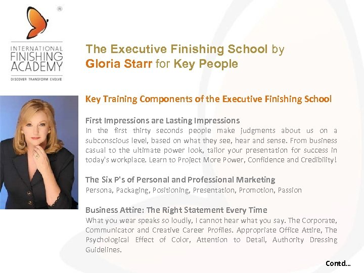 The Executive Finishing School by Gloria Starr for Key People Key Training Components of